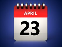 kalender för 3d 23 april Royaltyfri Bild