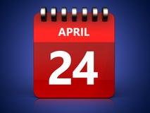 kalender för 3d 24 april Arkivbild