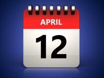 kalender för 3d 12 april Arkivbild