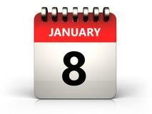 kalender för 3d 8 januari vektor illustrationer