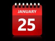 kalender för 3d 25 januari royaltyfri illustrationer