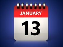 kalender för 3d 13 januari stock illustrationer