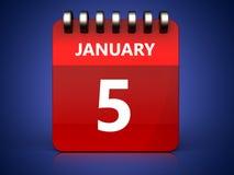kalender för 3d 5 januari stock illustrationer