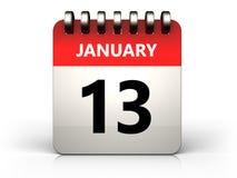 kalender för 3d 13 januari royaltyfri illustrationer