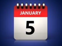 kalender för 3d 5 januari vektor illustrationer
