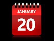 kalender för 3d 20 januari royaltyfri illustrationer