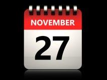 kalender för 3d 27 november Arkivfoton
