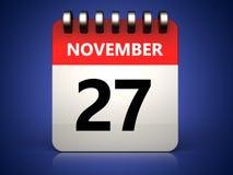 kalender för 3d 27 november Arkivbilder