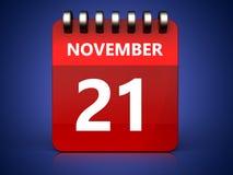 kalender för 3d 21 november vektor illustrationer