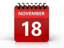 kalender för 3d 18 november Royaltyfri Fotografi