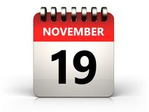 kalender för 3d 19 november stock illustrationer