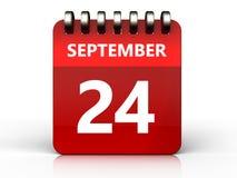 kalender för 3d 24 september Fotografering för Bildbyråer