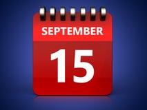 kalender för 3d 15 september Royaltyfri Illustrationer