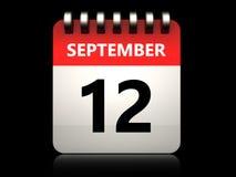 kalender för 3d 12 september stock illustrationer