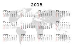 Kalender 2015 för dagordning med världskartan vektor illustrationer