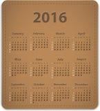 Kalender för 2016 engelska Arkivbild