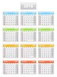 Kalender för 2016 engelska Arkivfoto