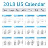 Kalender för 2018 engelska för USA amerikanska Royaltyfri Bild