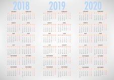 Kalender för enkel mall för vektor 2018 2019 2020 vektor illustrationer