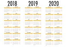 Kalender för enkel mall för vektor 2018 2019 2020 royaltyfri illustrationer