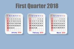 Kalender för första kvartal av 2018 år vektor illustrationer