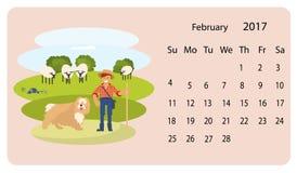 Kalender 2018 för Februari vektor illustrationer