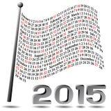 Kalender för 2015 flagga Fotografering för Bildbyråer