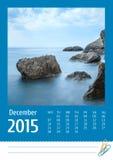 Kalender för foto Print2015 december Royaltyfria Bilder