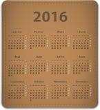 Kalender för 2016 franska Arkivfoto