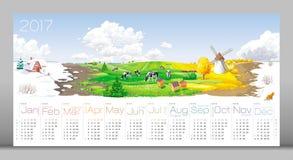 Kalender 2017 för fyra säsonger vektor illustrationer
