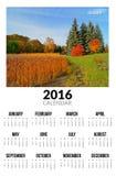 Kalender för 2016 Hösten landskap Arkivfoton