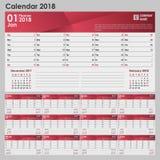 Kalender för 2018 i grå färg-röd färg med ett ställe för logoen stock illustrationer