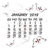 Kalender för 2018 japansk stil Månaden av Januari royaltyfri illustrationer