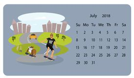 Kalender 2018 för Juli stock illustrationer