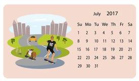 Kalender 2018 för Juli royaltyfri illustrationer