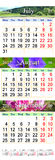 Kalender för Juli August September 2017 med tre färgade bilder Stock Illustrationer