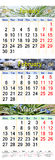 Kalender för Juli August September 2017 med tre färgade bilder Arkivfoto