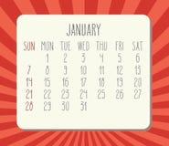 Kalender för månadstidning för Januari år 2018 vektor illustrationer