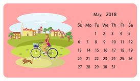 Kalender 2018 för Maj royaltyfri illustrationer