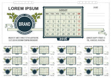 Kalender för mallaffärsskrivbord med utrymme för anmärkningar 2016 Veckastarter på Måndag Arkivbilder
