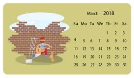 Kalender 2018 för mars royaltyfri illustrationer