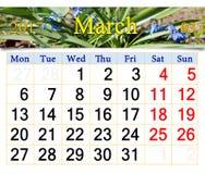 Kalender för mars av 2017 år med snödroppar Fotografering för Bildbyråer