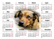 Kalender för 2018 med den trevliga hunden Arkivfoto