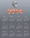 Kalender för 2014 med jordklotet Arkivfoton