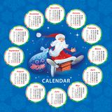 Kalender för 2018 med jultomten Arkivbild