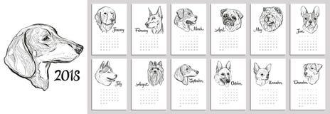 Kalender för 2018 med stående av hundkapplöpning av olika avel vektor illustrationer