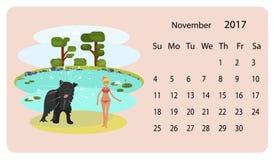 Kalender 2018 för November stock illustrationer