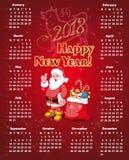 Kalender för nytt år för 2018 royaltyfri illustrationer