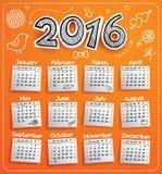 Kalender för nytt år 2016 royaltyfri illustrationer
