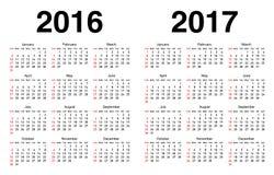 Kalender för 2016 och 2017 royaltyfri illustrationer